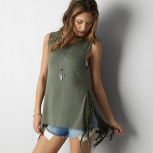 AEO Fringe Sleeveless Shirt Green Tank Top XS